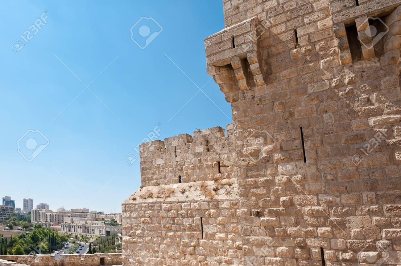 View to the  Street from Ancient Walls Surrounding Old City of Jerusalem Stock Photo - 15032447