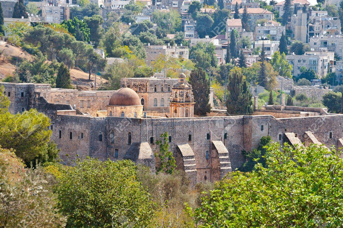 Monastery of the Cross in Jerusalem on the Background of Old City Stock Photo - 15930314