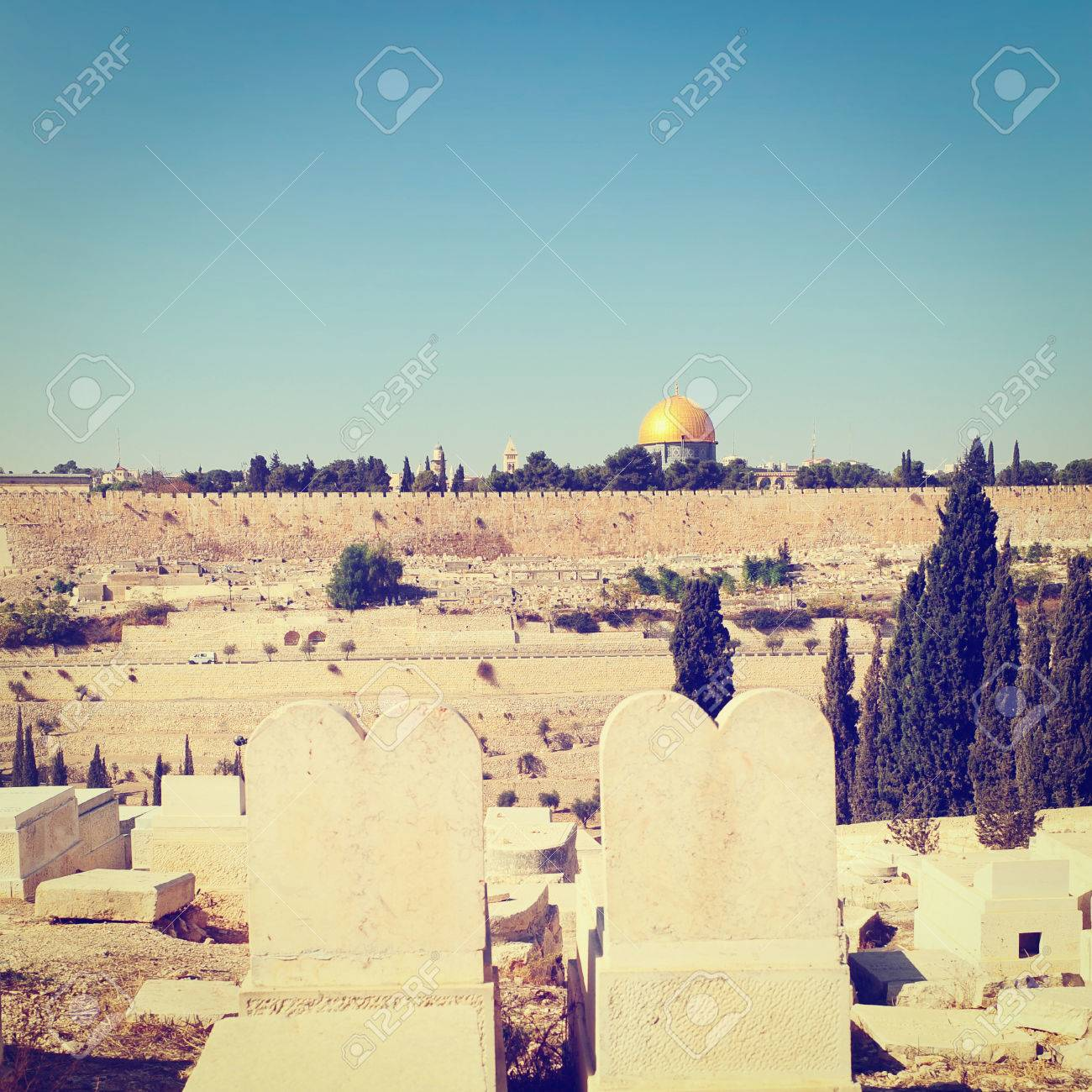 View from Ancient Jewish Cemetery to Walls of the Old City of