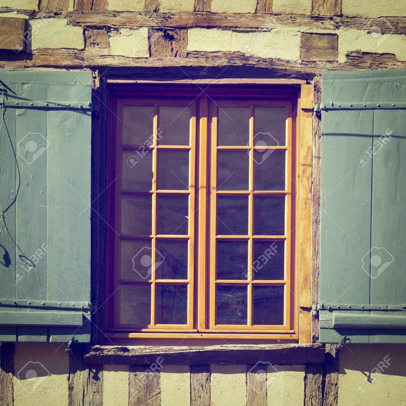 French Window With Open Wooden Shutters Instagram Effect