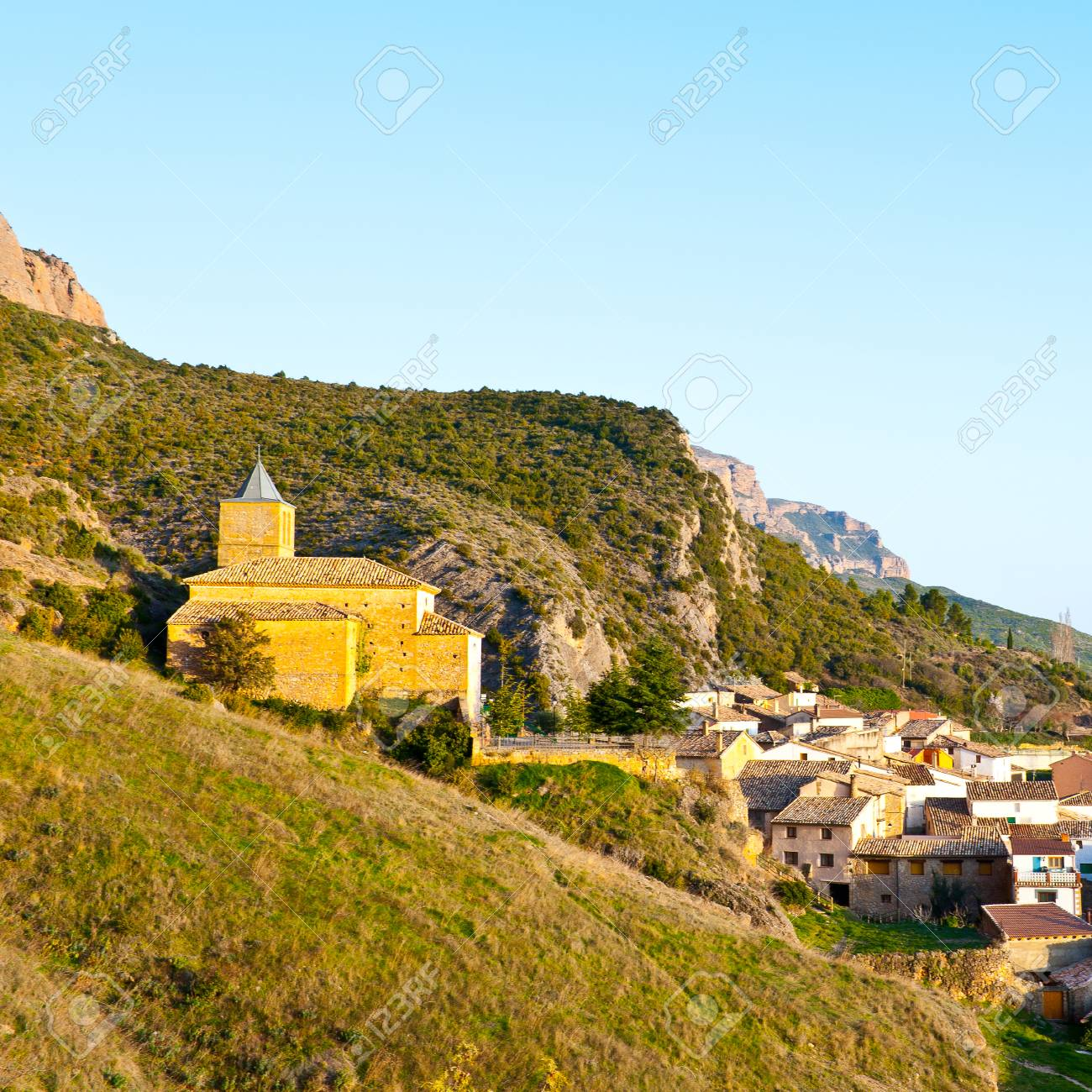 Rocks In Spanish Part - 25: Spanish Medieval Village At The Foot Of The Rocks In The Pyrenees Stock  Photo - 42659410