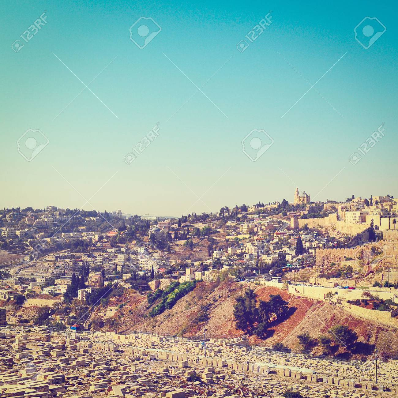 View from the Kidron Valley on the Walls of the Old City of Jerusalem,