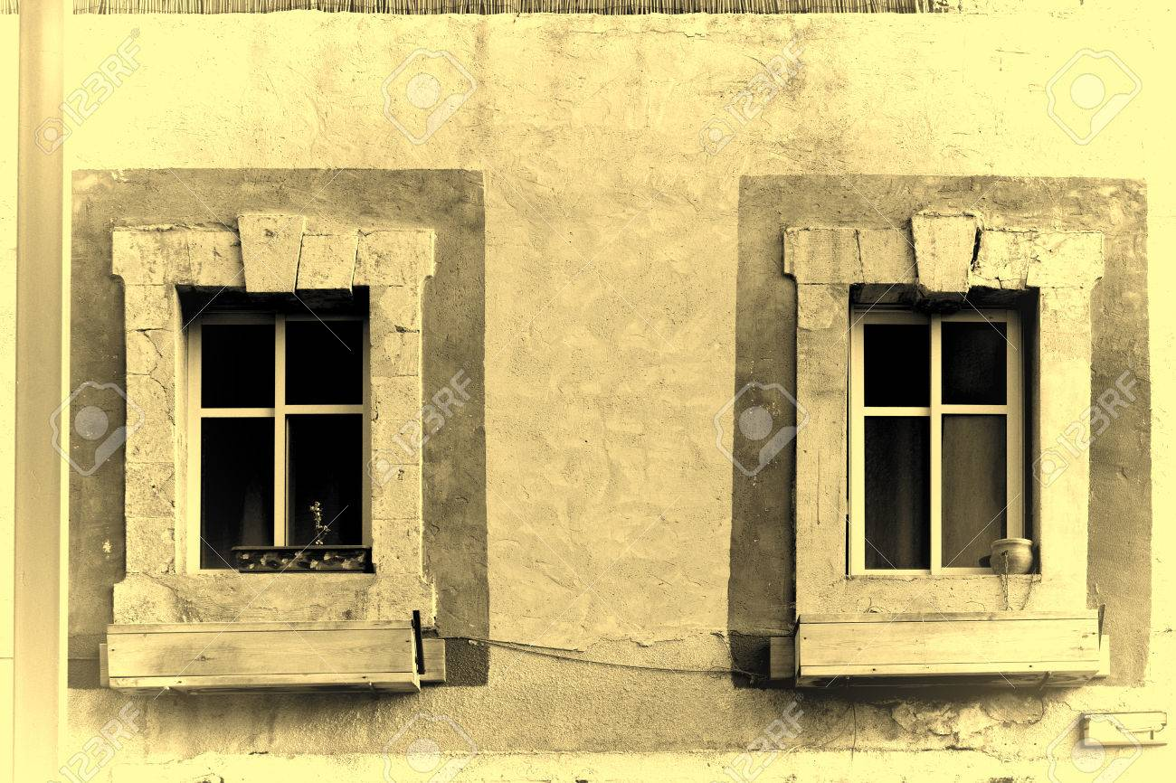 Israel Old Windows Decorated With Ceramic Flower Pot And Wooden