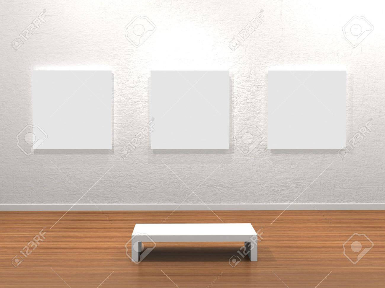 Empty frame in a room against a white wall Stock Photo - 9943944