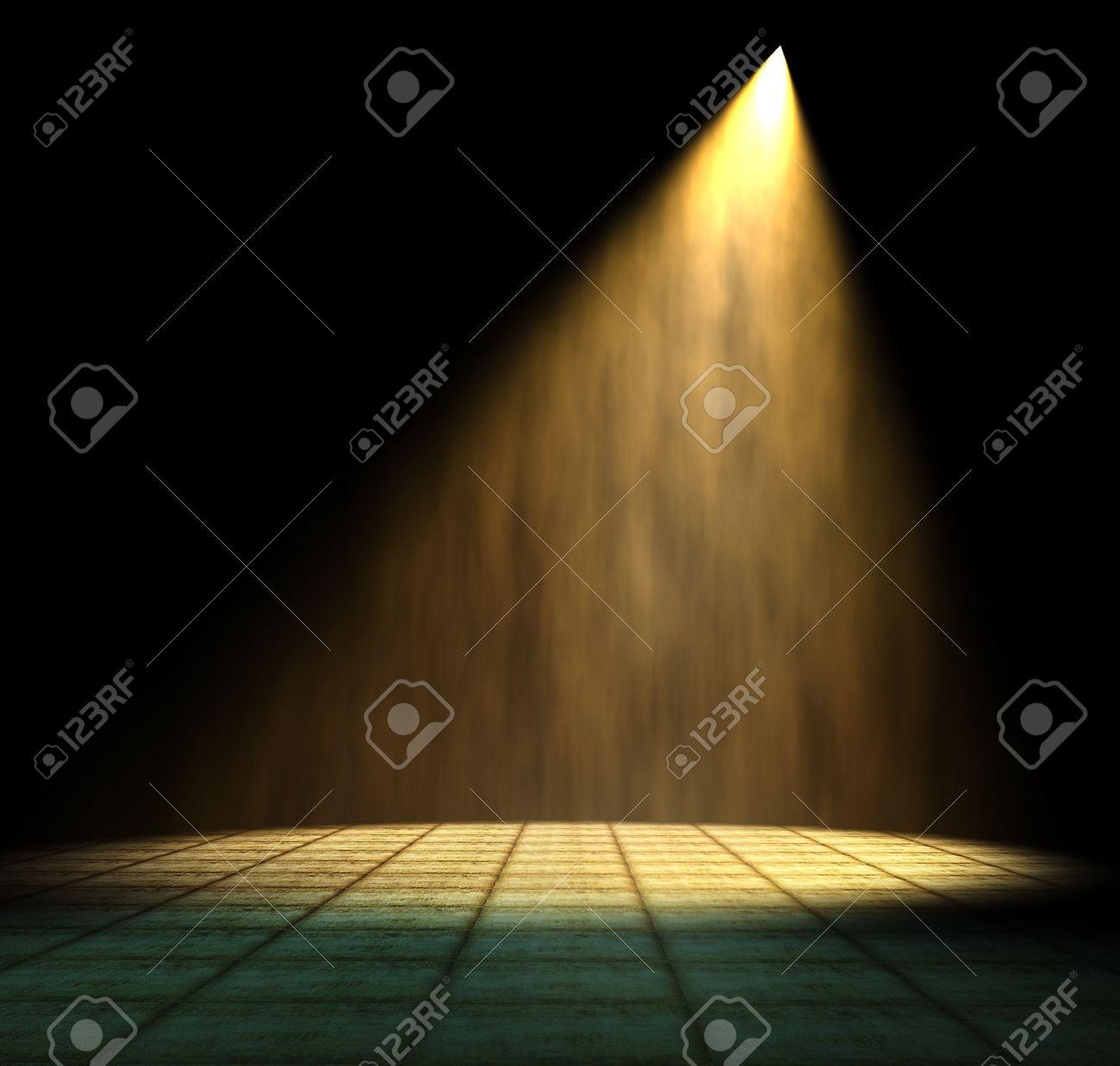 Dark room with light bulb - Light Beam In Dark Room Stock Photo 10265348