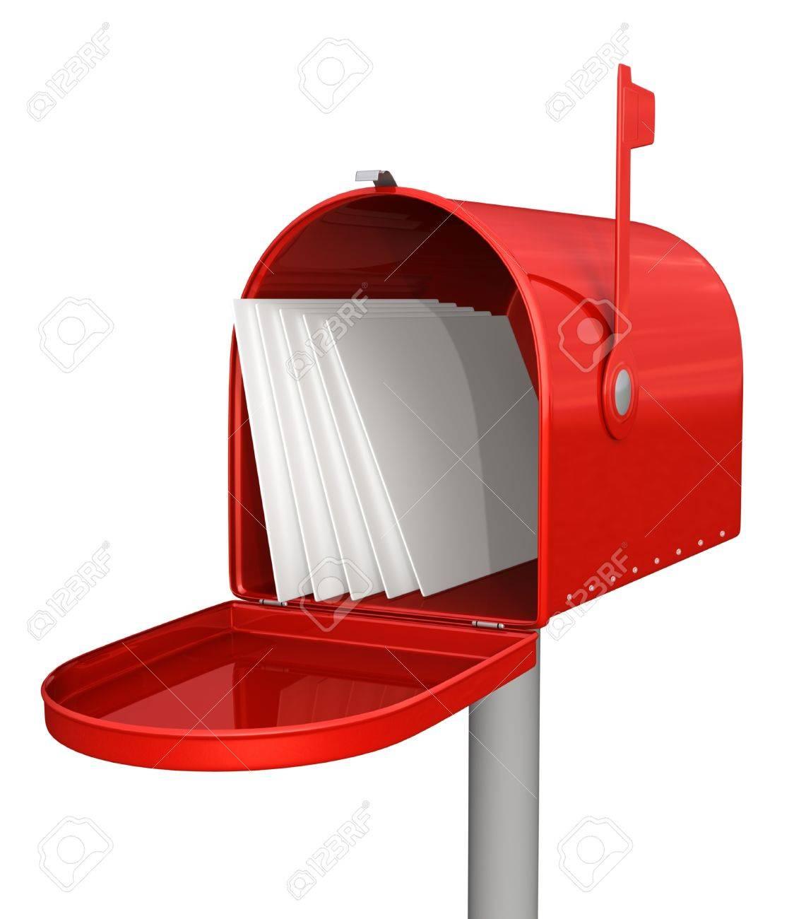 Boite Aux Lettres Rouge Classique Avec Le Courrier Banque D Images