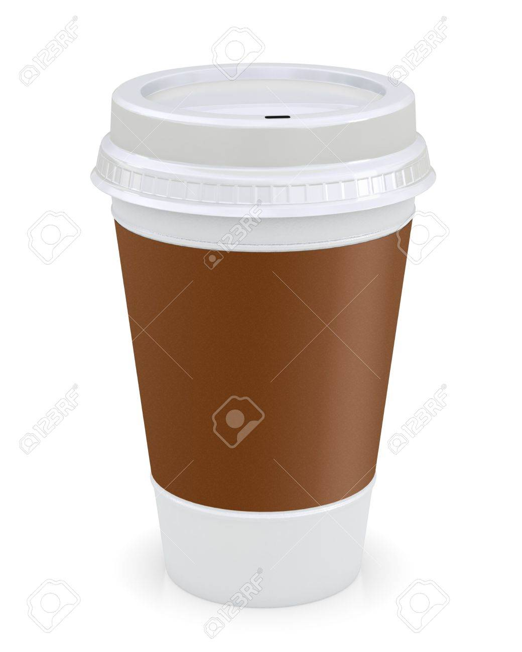 plastic coffee cup template over white background stock photo