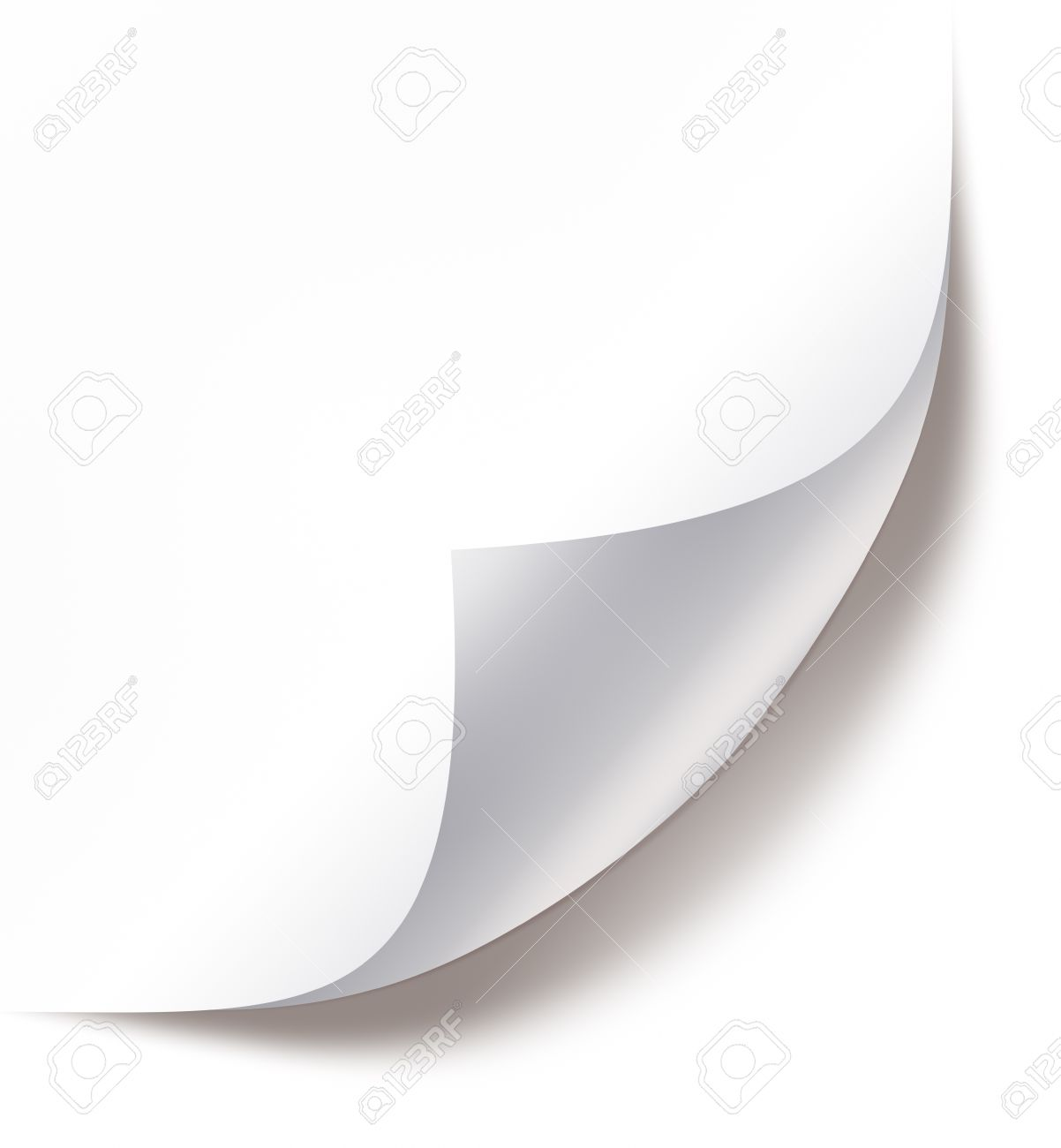Blank paper sheet with page curl and shadow on white Stock Photo - 17030653