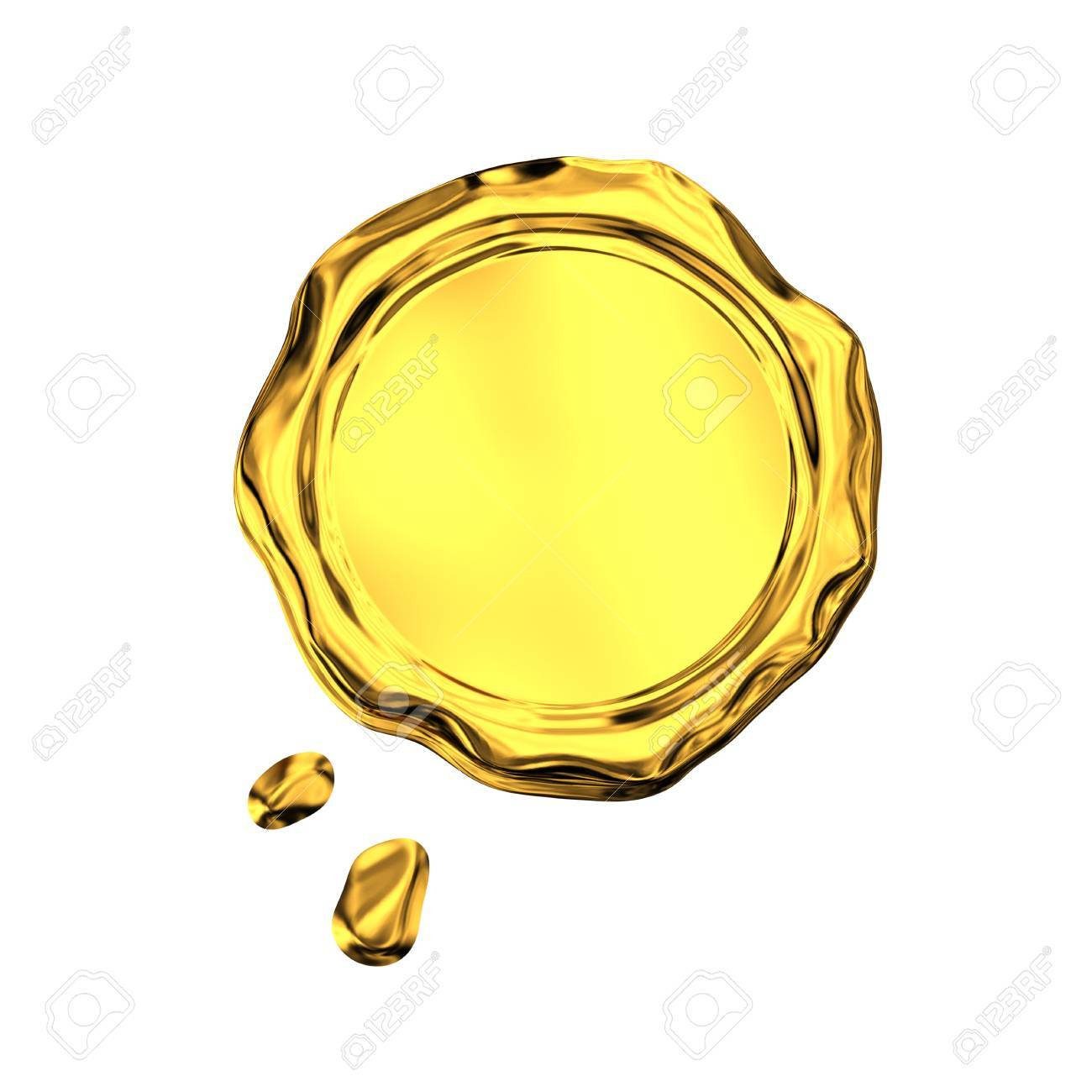 Golden seal wax - isolated on white background - 17106437