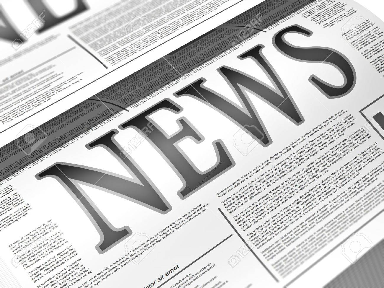 Illustration of a newspaper with news related text, lorem ipsum text - 18454940