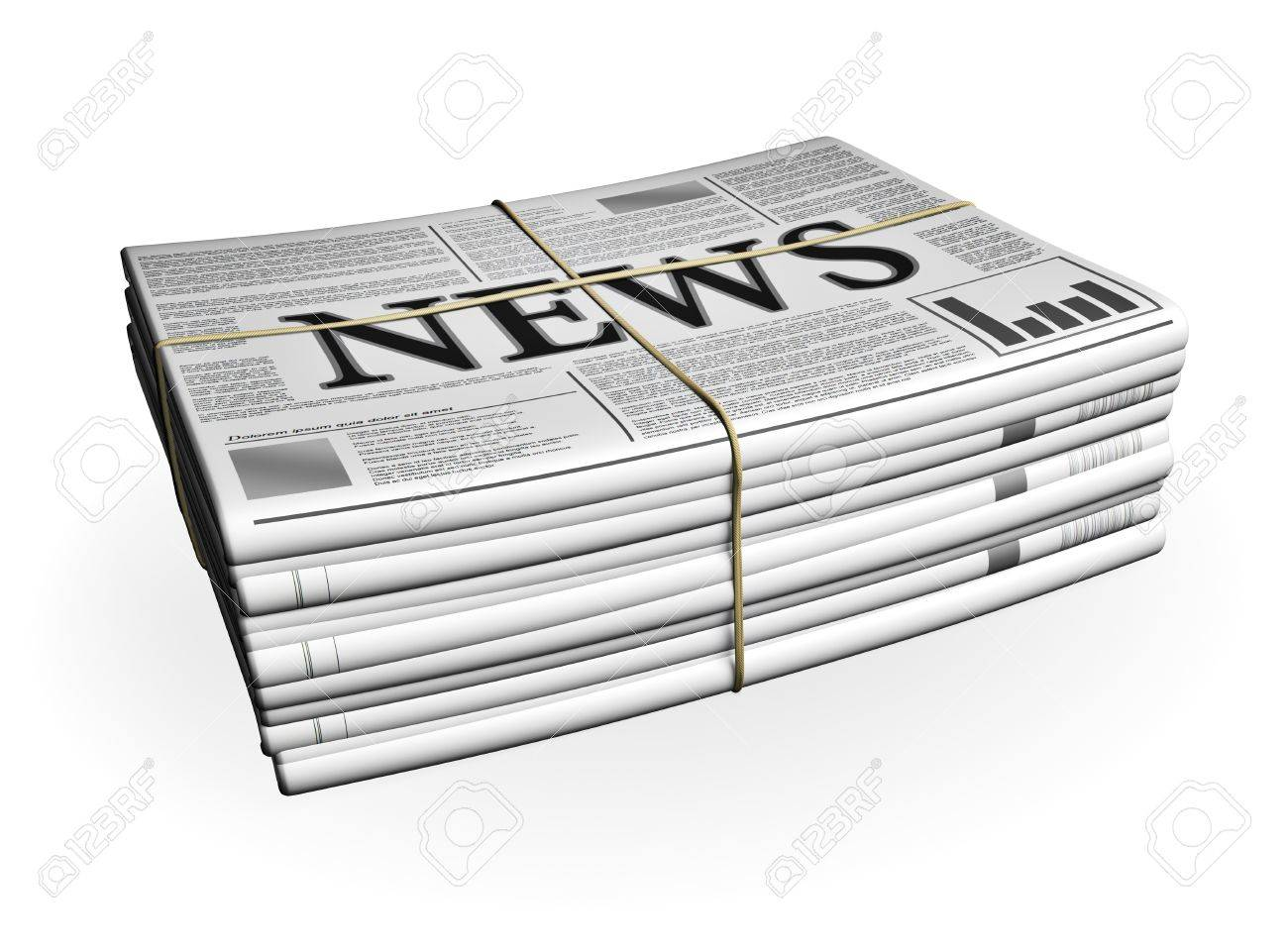 Newspaper Stack isolated on white - 18978016