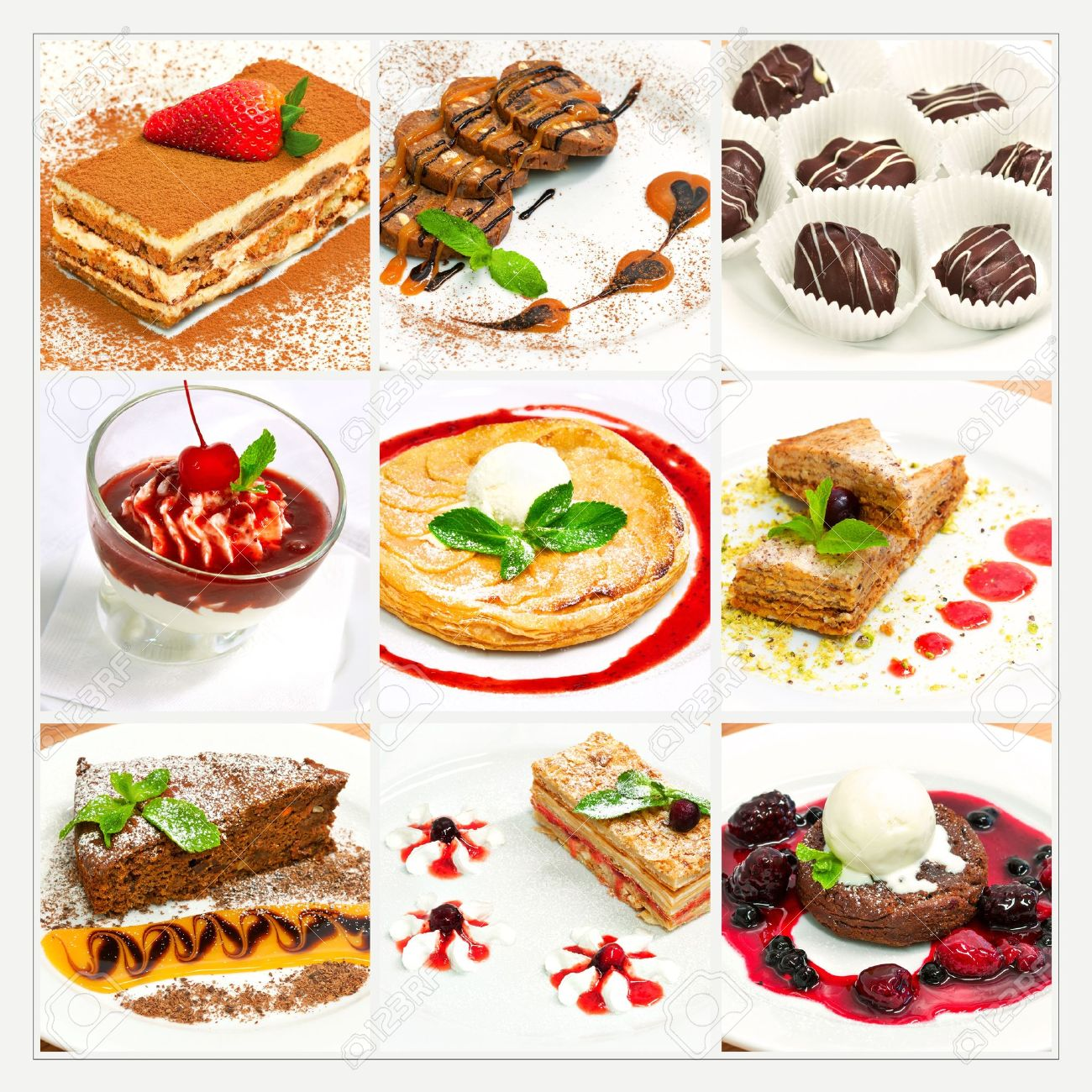 Collage with different sweet dessert - 19385174