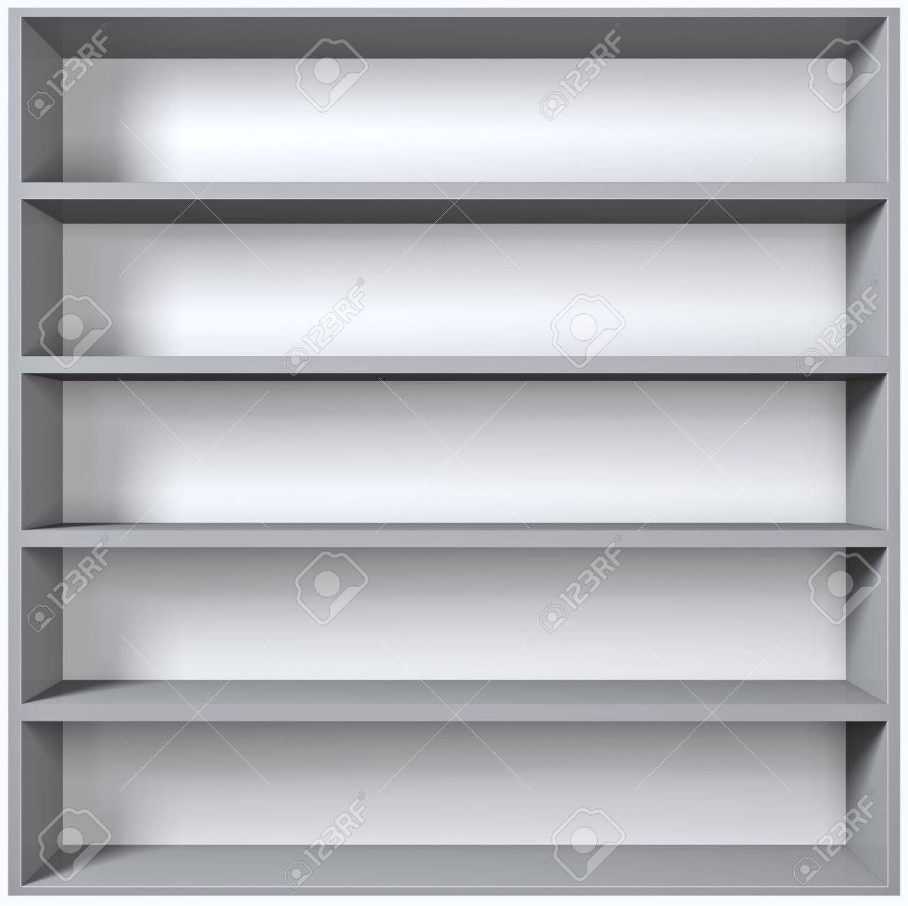 Grey wooden shelves with empty racks isolated on white background - 25027047