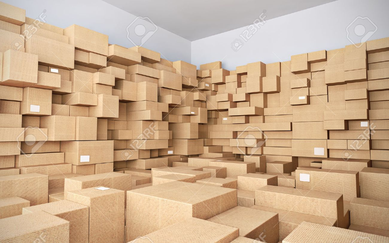 Warehouse with many cardboard boxes - 3d illustration - 25888422