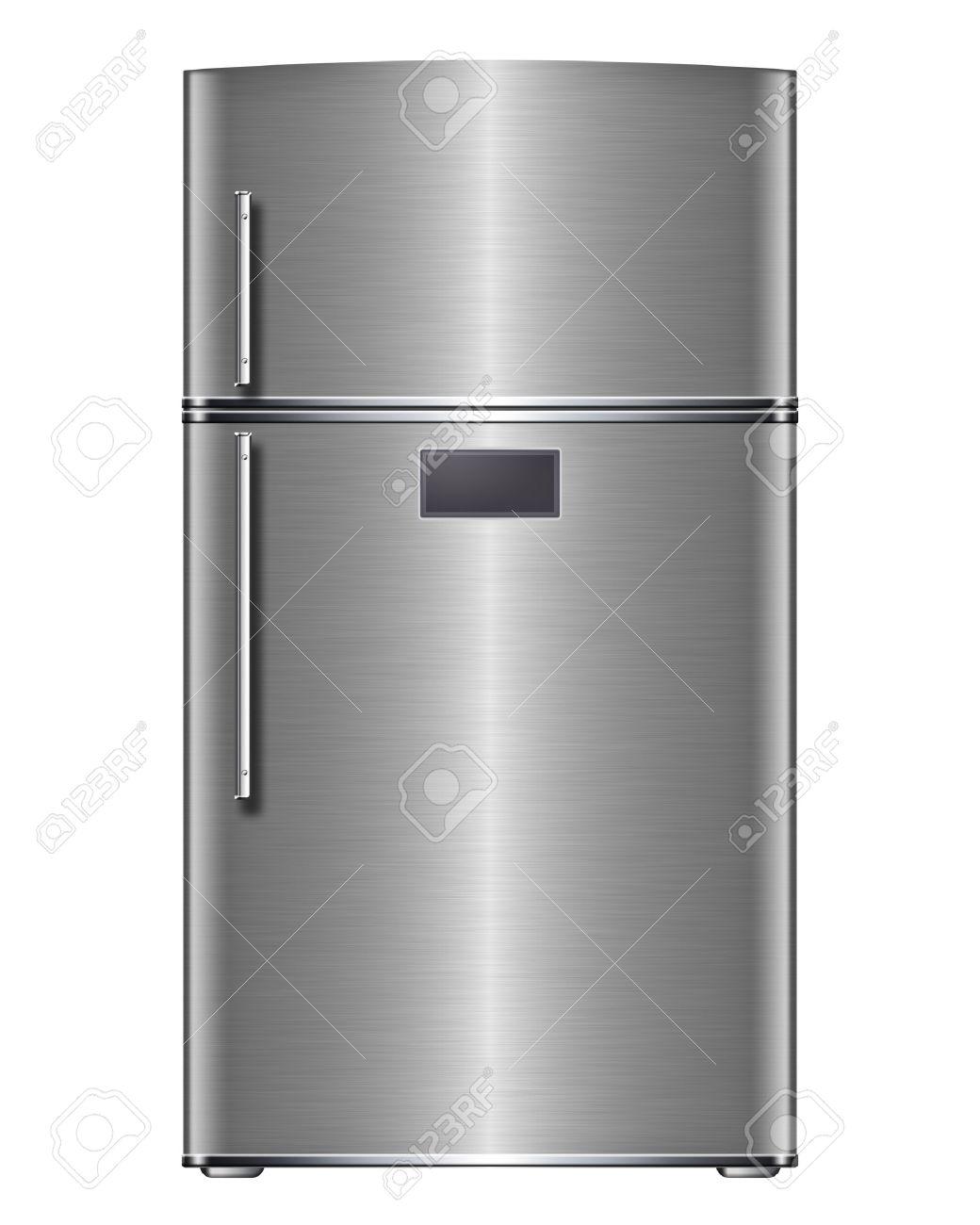 Modern steel refrigerator - isolated on white background - 26026772