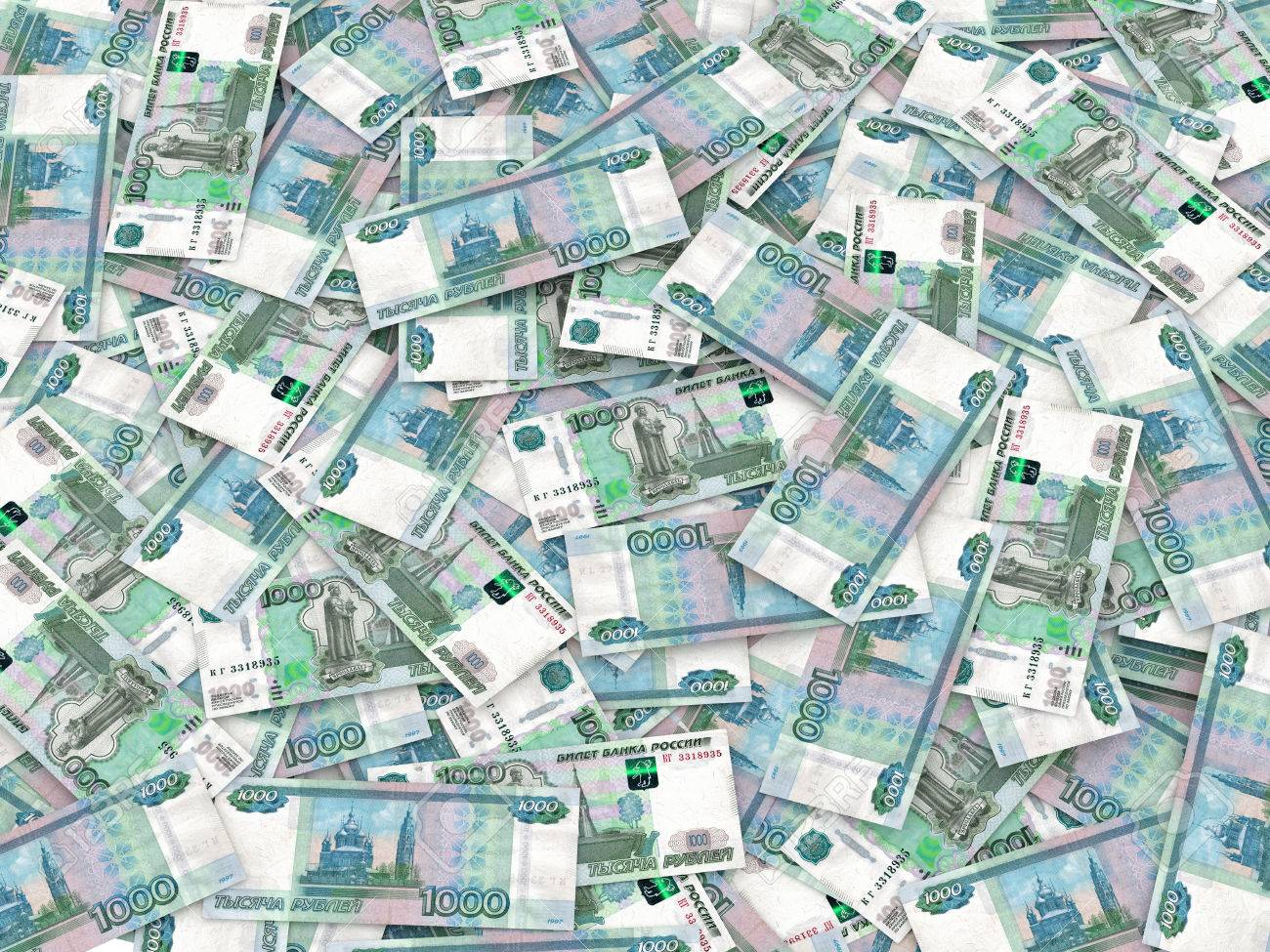Russian currency - heap of russian ruble banknotes - 29289077
