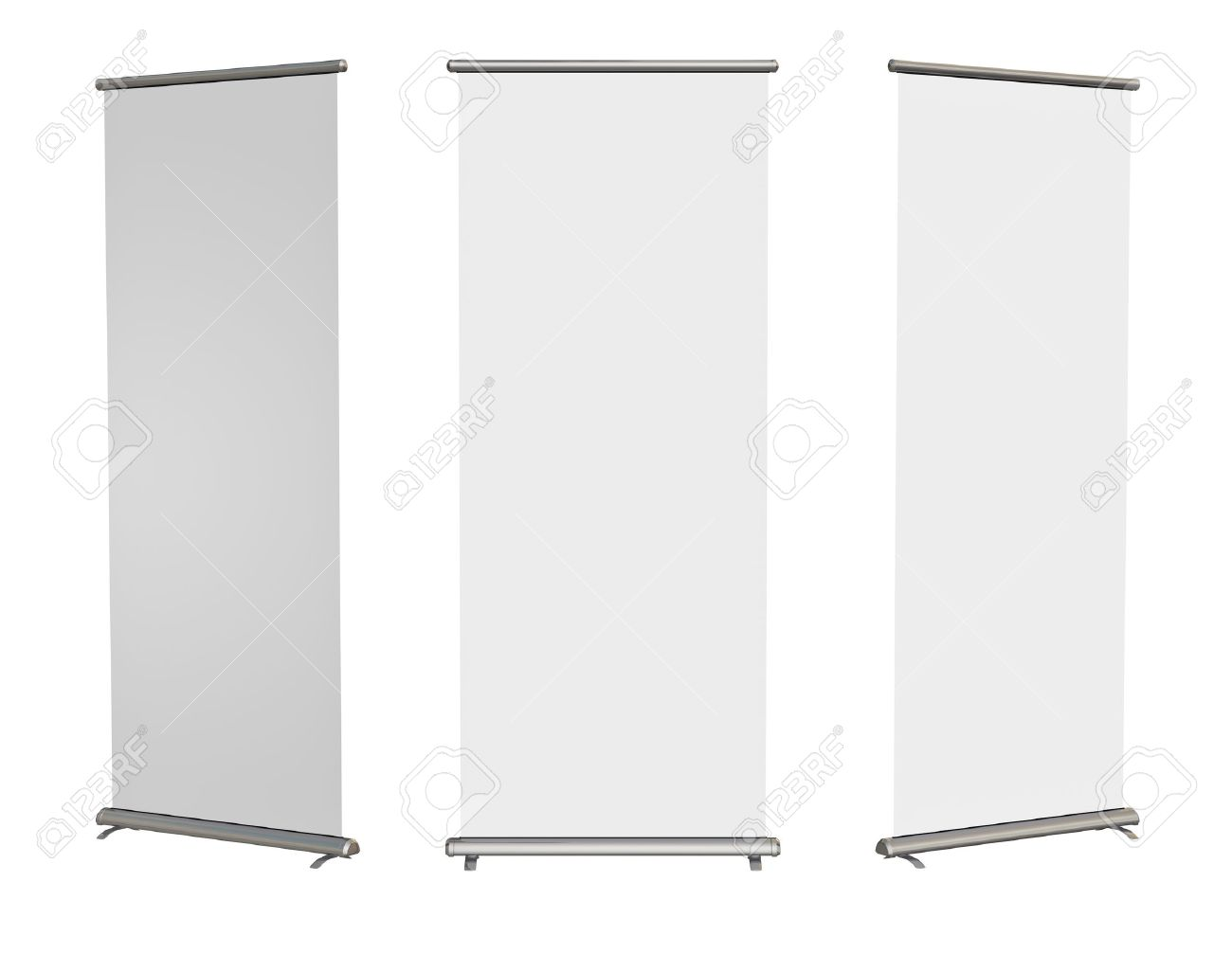 Blank roll-up banner display, isolated with clipping path - 30491921