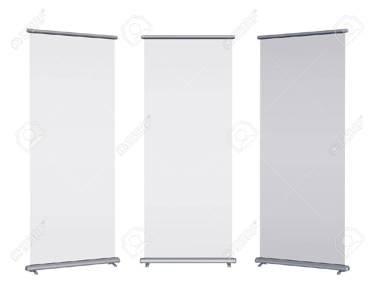 Blank roll-up banner display, isolated with clipping path - 30491953