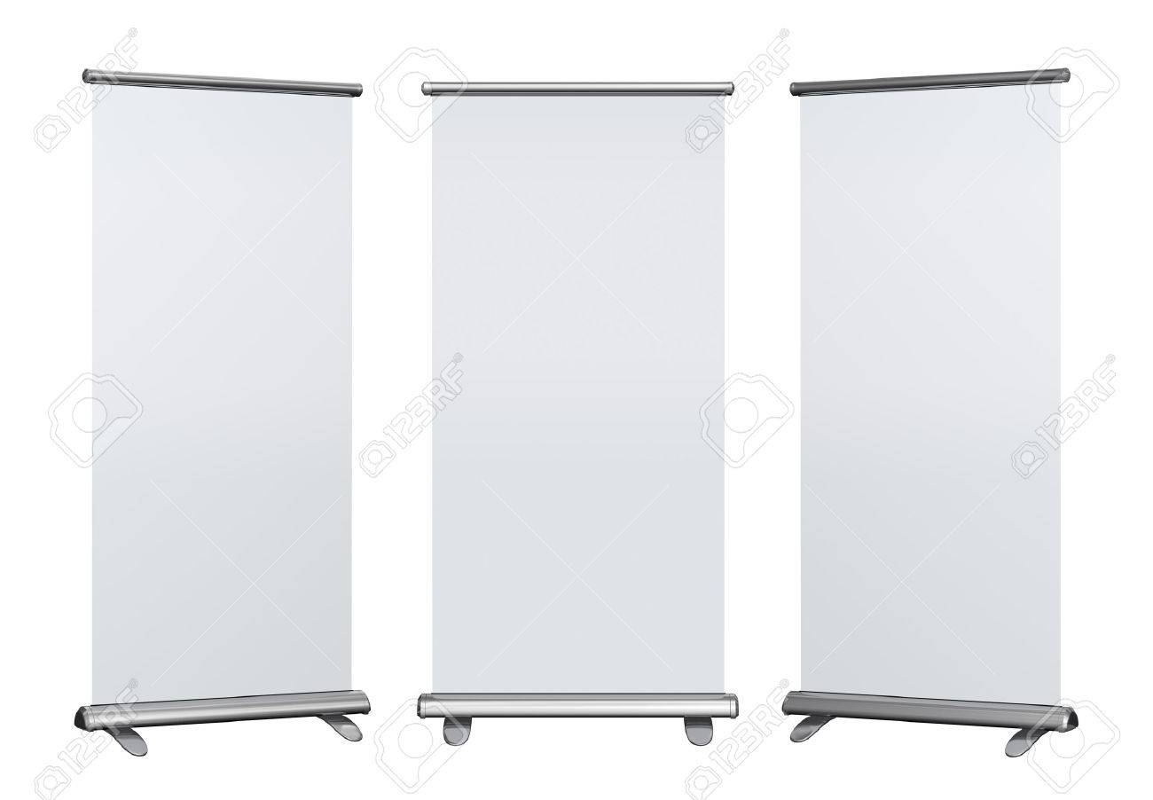 Blank roll up banner display on white background - 30897372