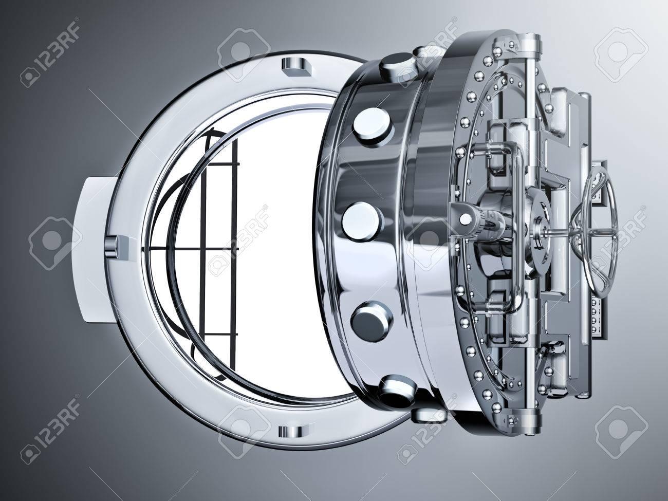 open bank vault door 3d render stock photo