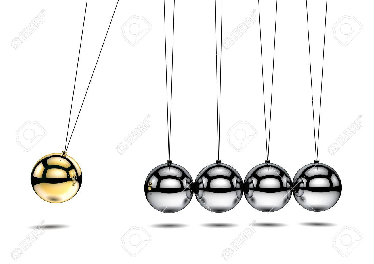 newton s cradle with one gold ball 3d illustration stock photo