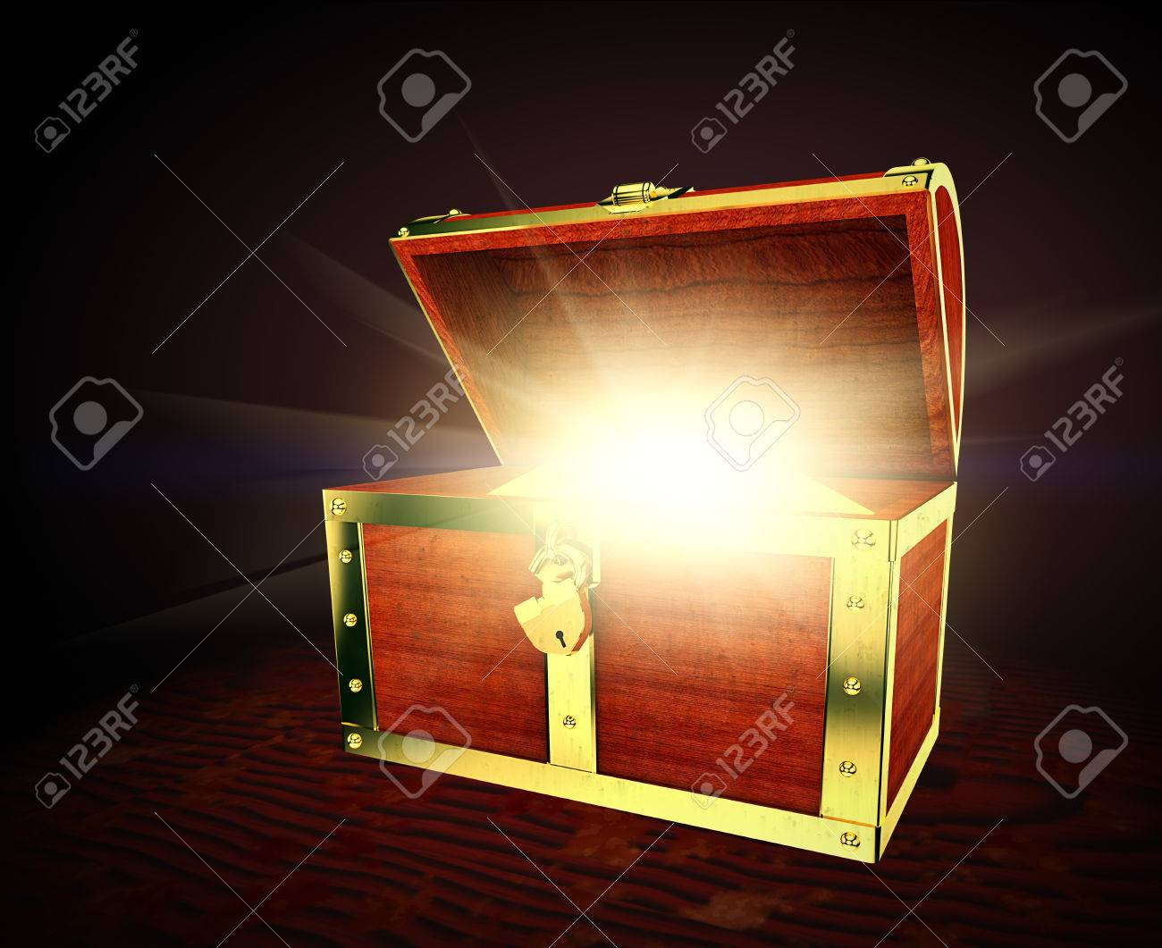 Old wooden treasure chest with strong glow from inside - 35532205