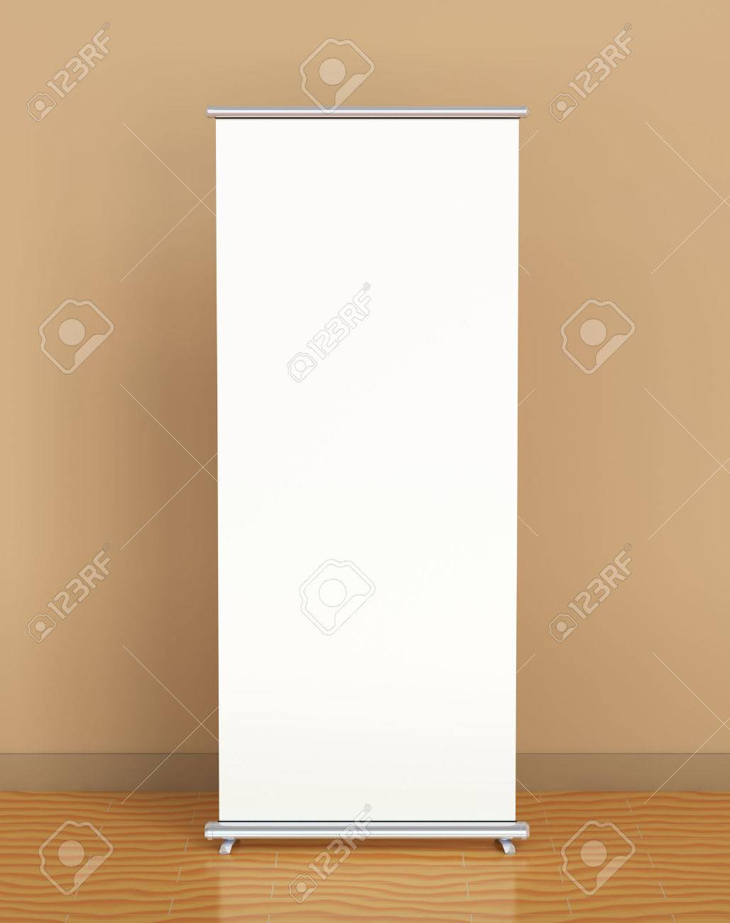 Blank roll-up banner against the brown wall - 36569843
