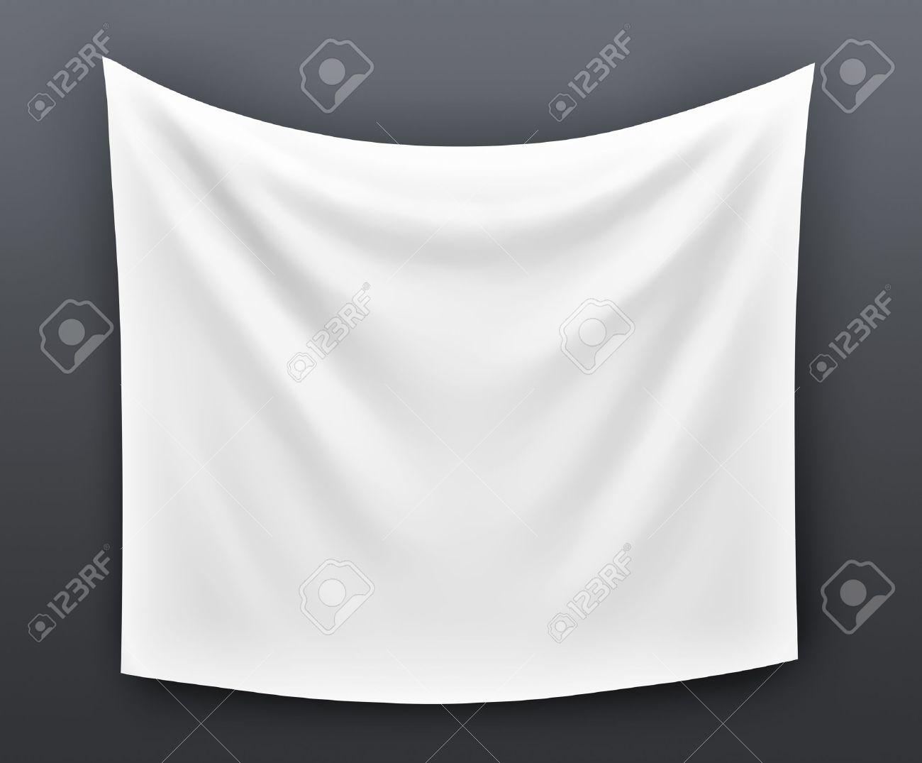 Empty cloth banner. 3d illustration on grey background - 36905763