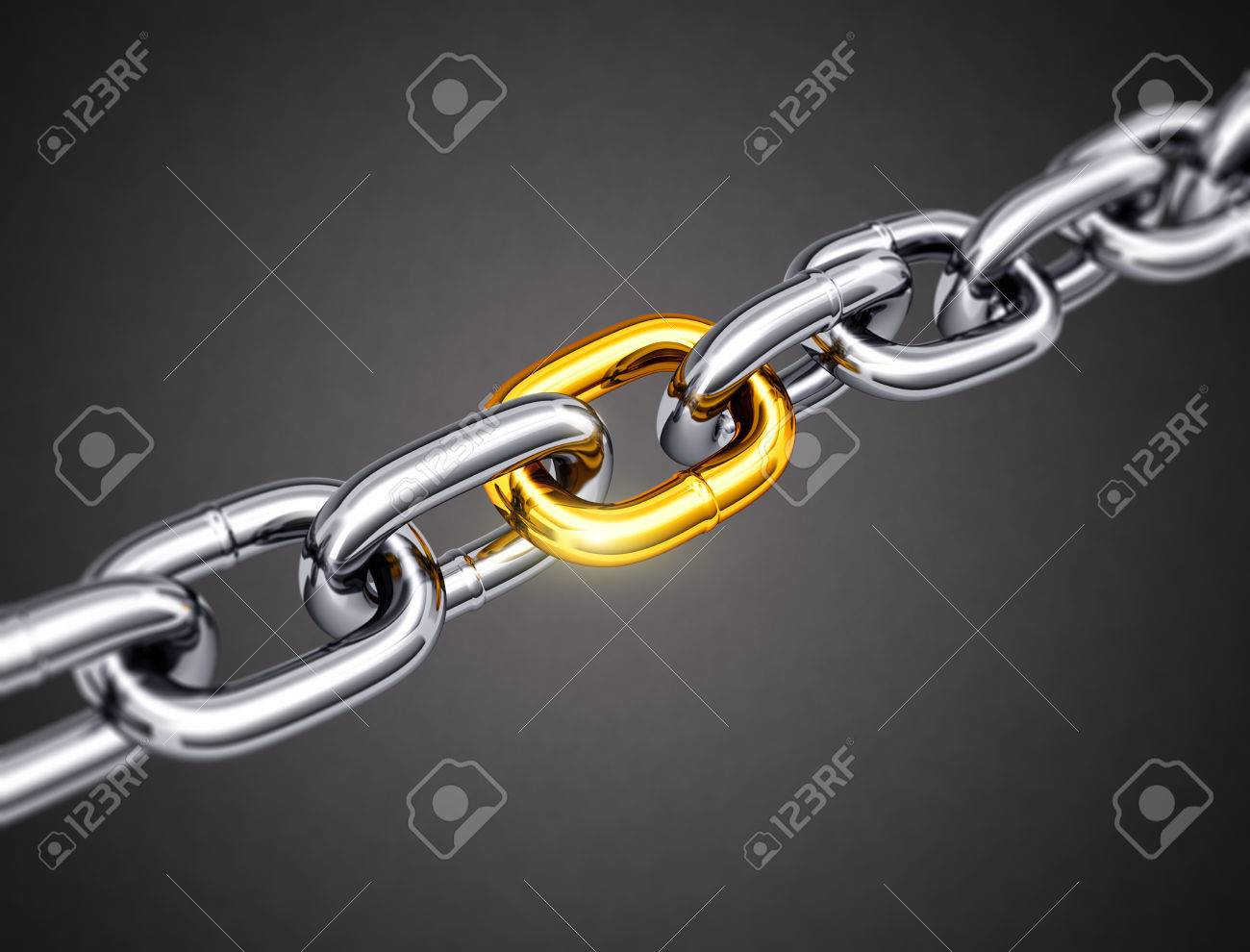 Steel chain with a gold link - 37407301