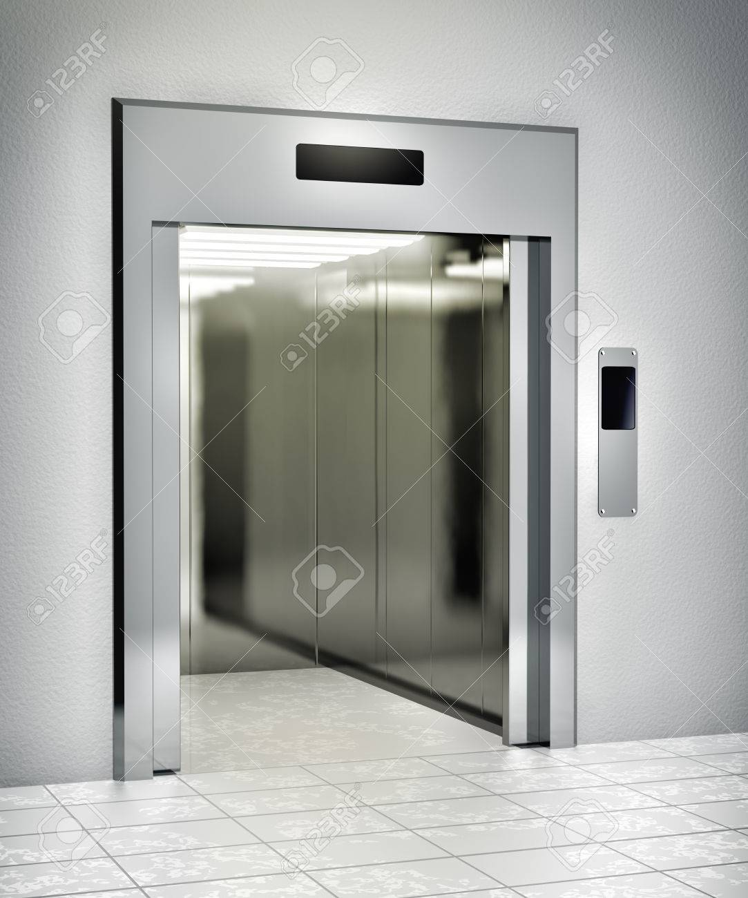 Modern elevator with opened door - 37458090