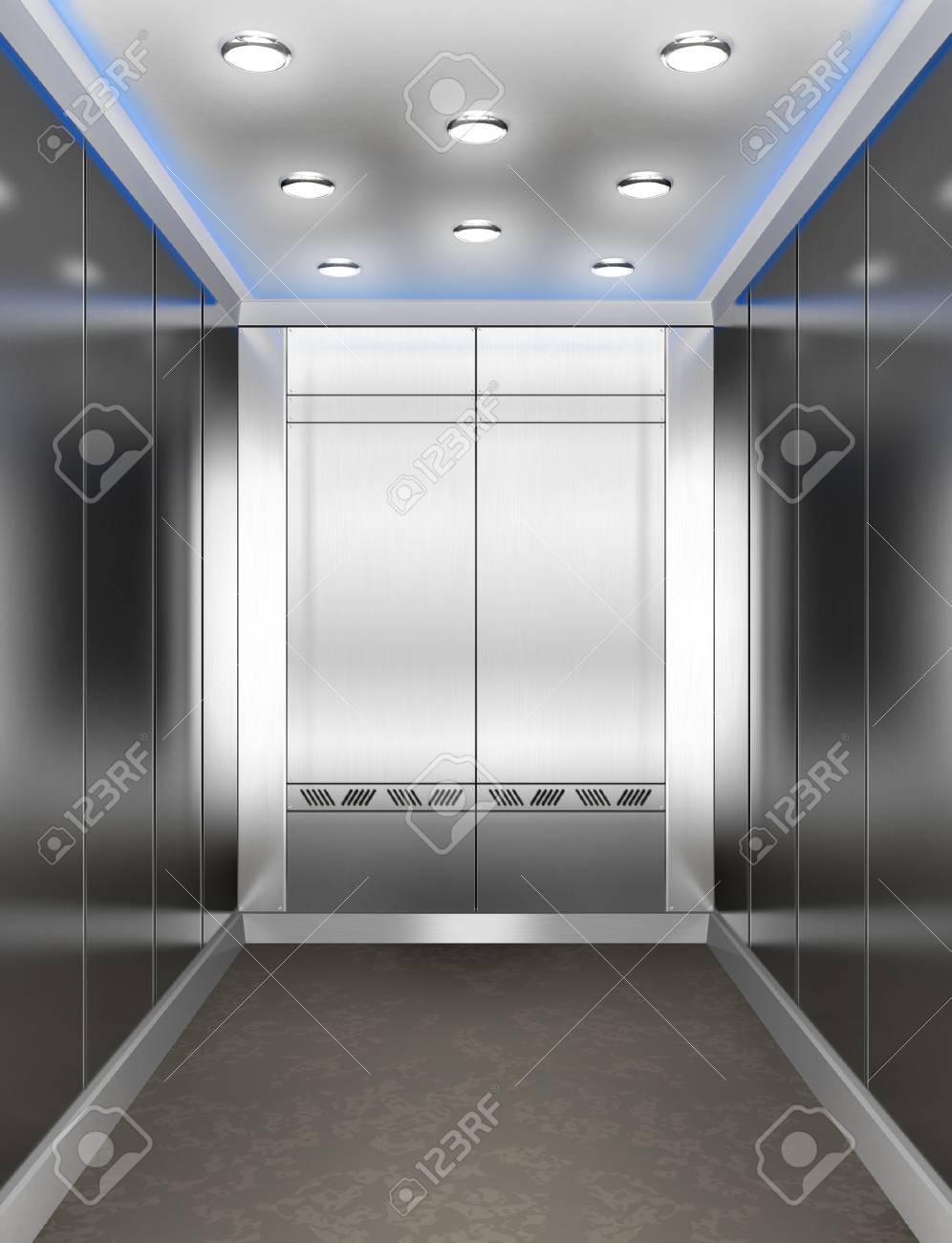 Modern elevator with opened door - 37553442