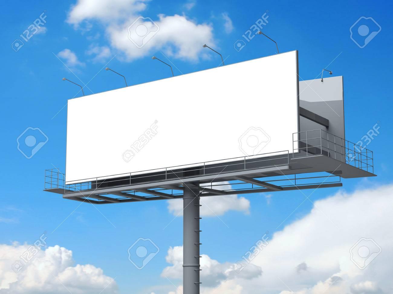Billboard with empty screen on blue sky - 39218889