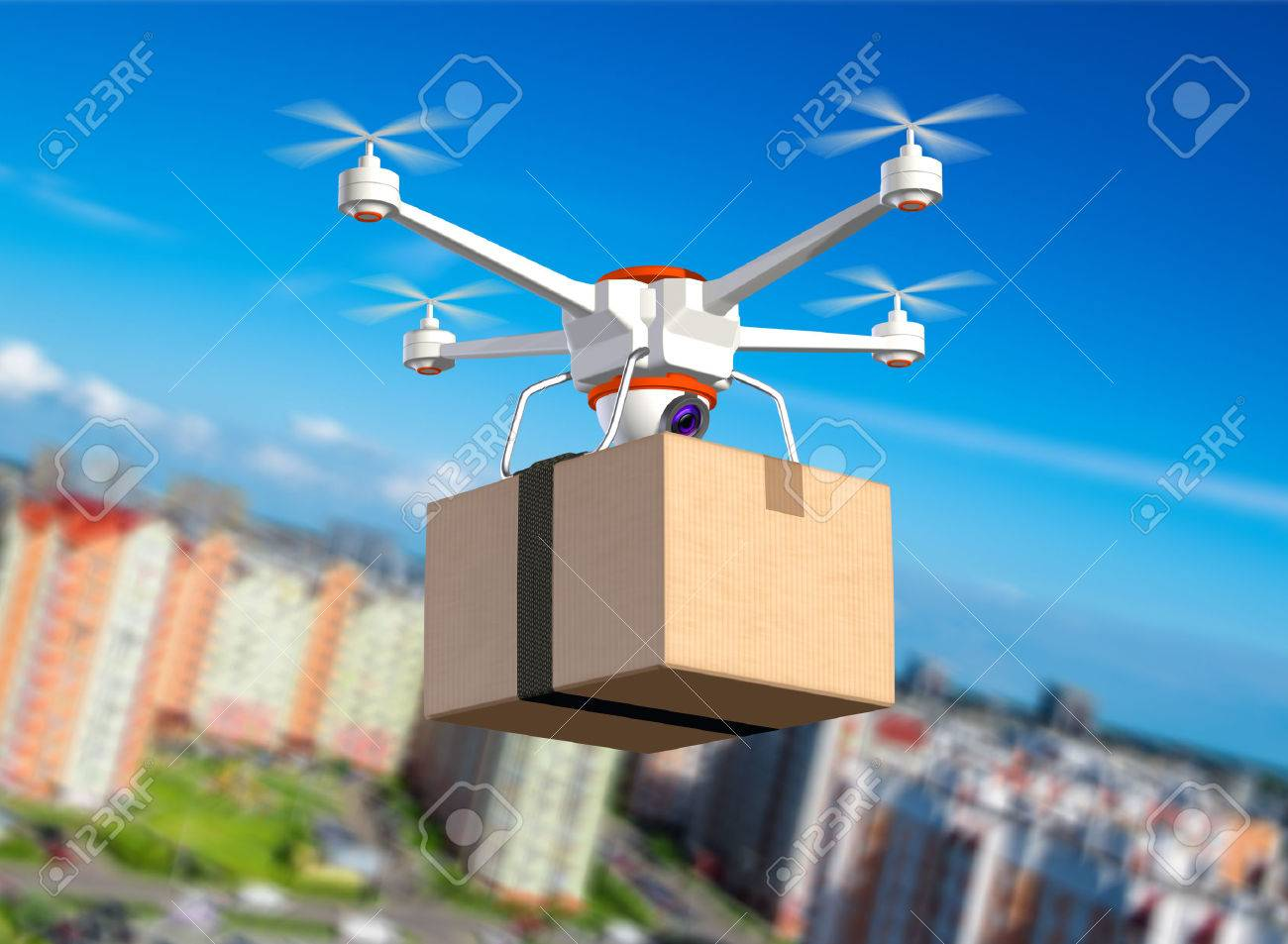 Quadrocopter with cardboard package, 3d illustration - 42077153