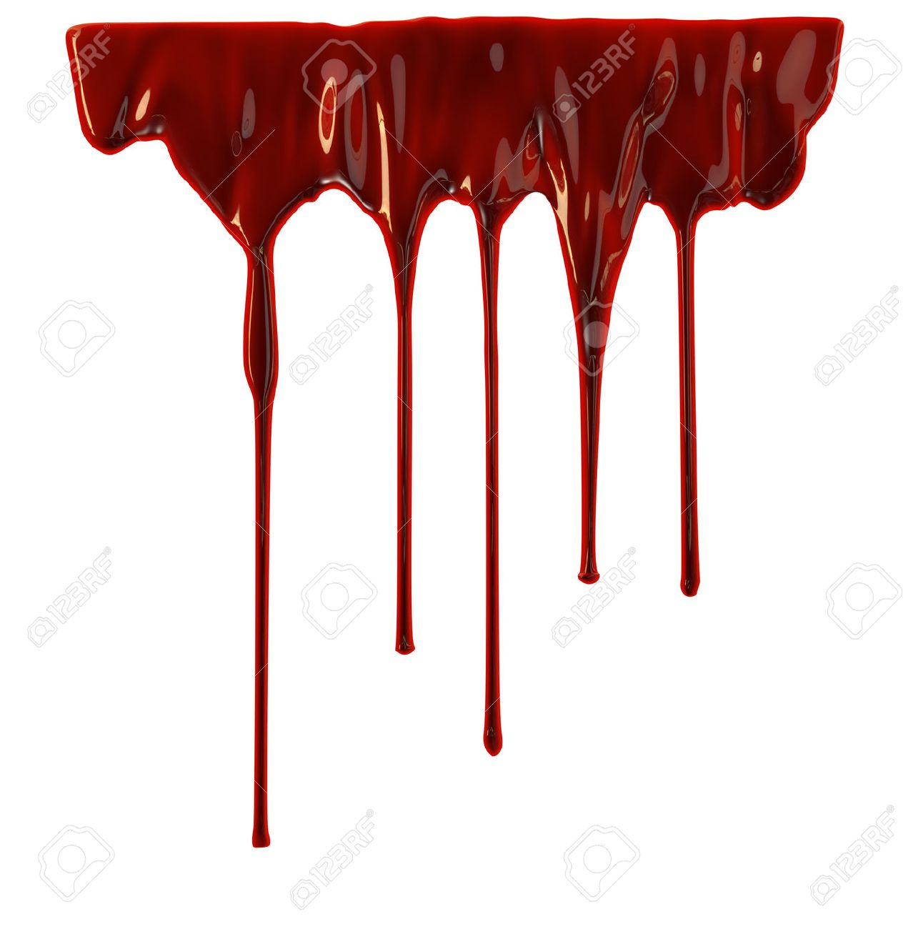 Blood dripping down over white background - 42407740