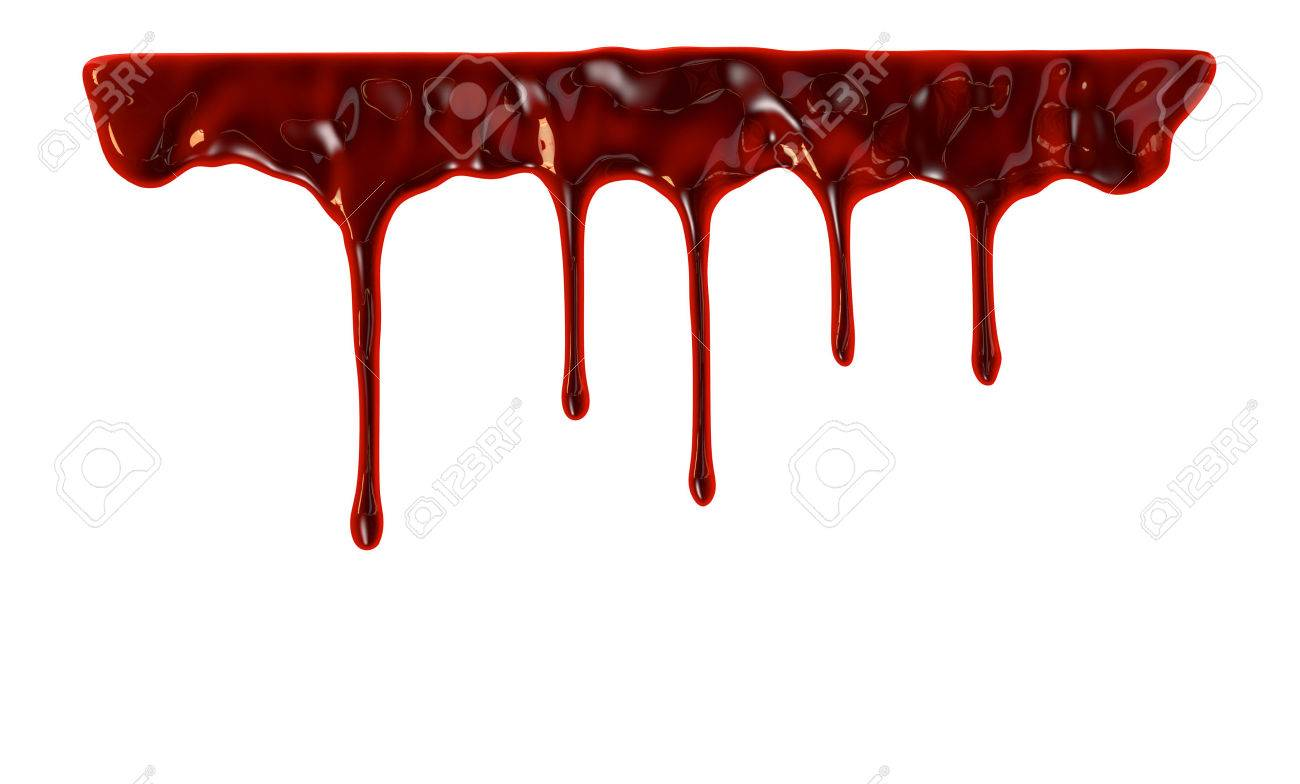 Blood dripping down over white background - 42407802