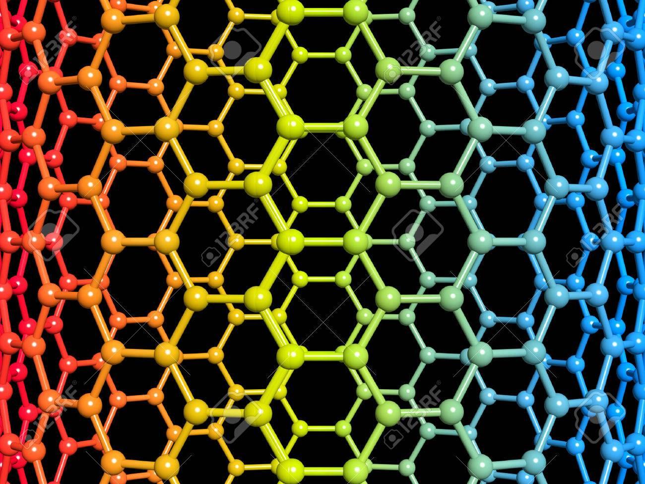 Nanotube 3d illustration on black background - 44251427