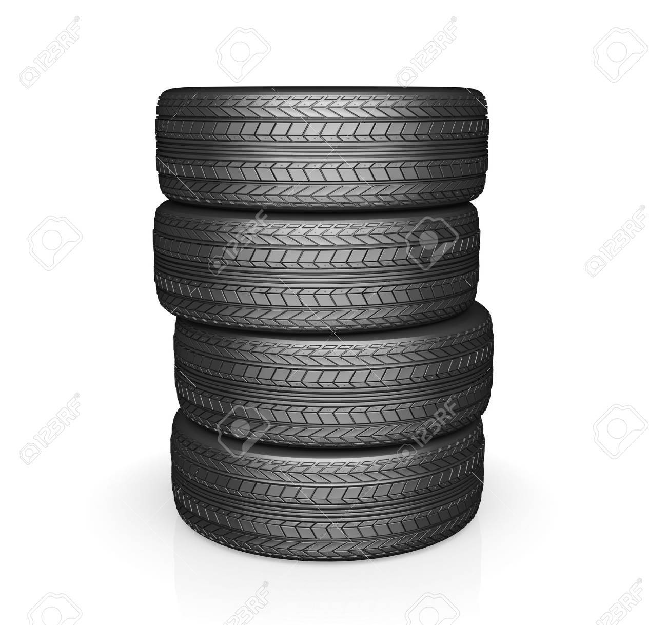 Car tire with protector, isolated on white background - 44690704