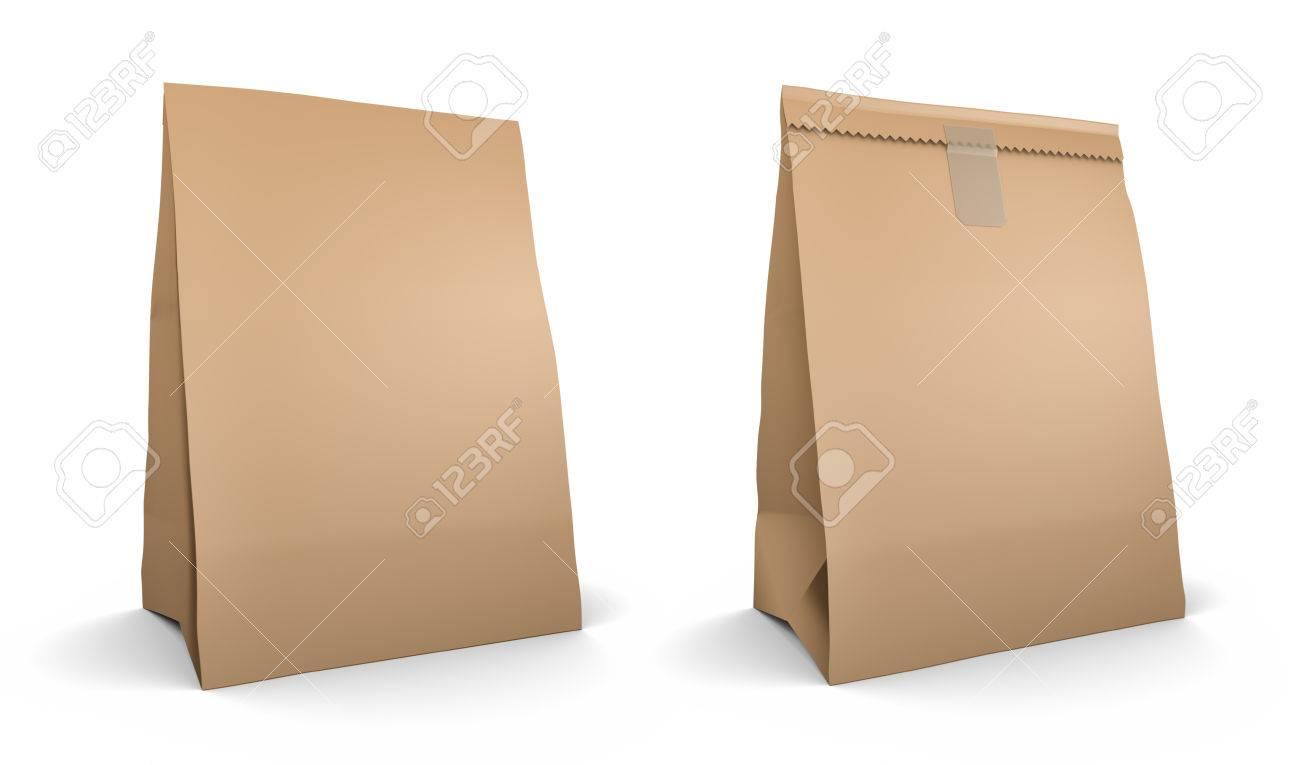 De Papieren Zak : Papieren zak set geïsoleerd op een witte achtergrond royalty