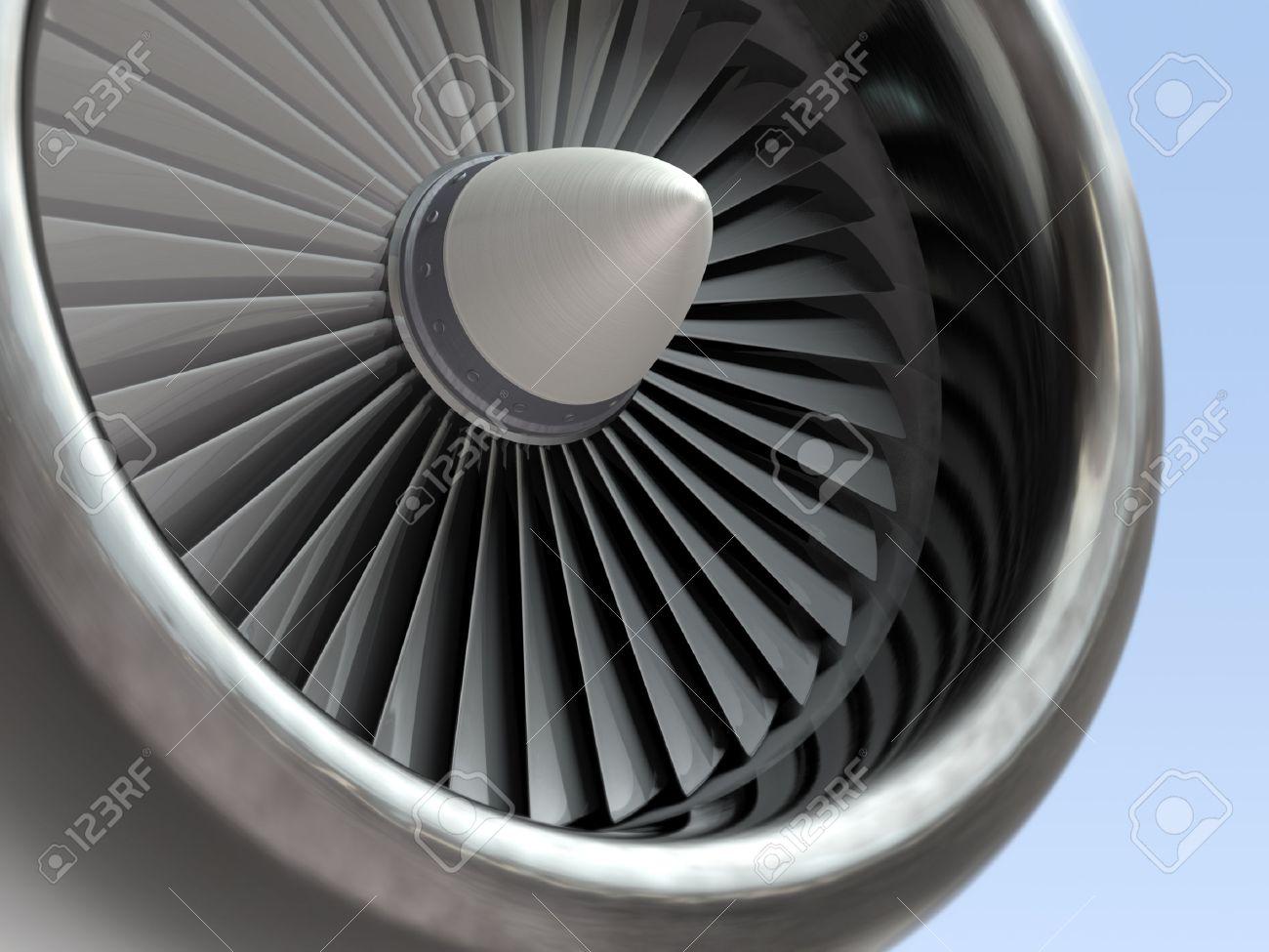 Jet engine, turbine blades of airplane, 3d illustration - 48641851