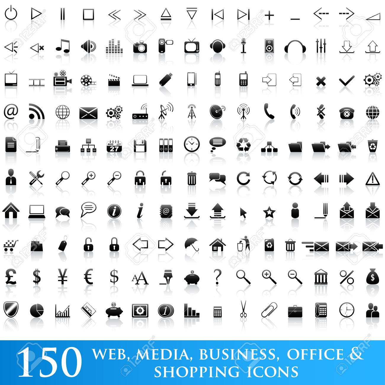 Set of 150 web, media, business, office and shopping icons Stock Vector - 6643556