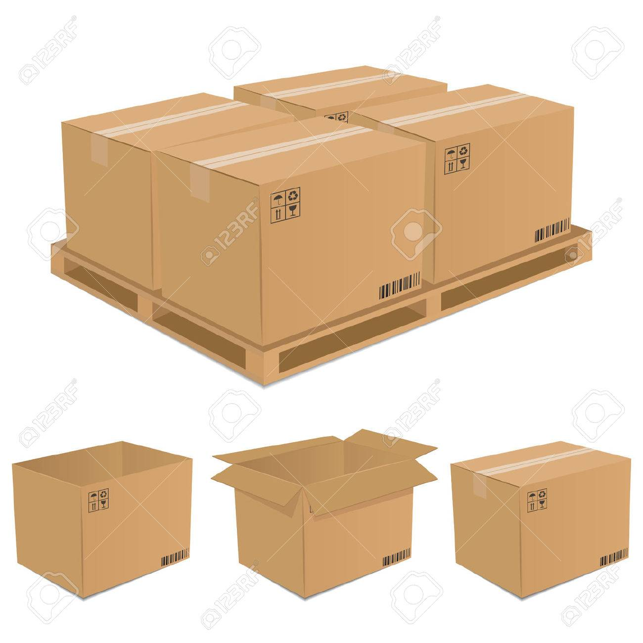 Set of  cardboard boxes Stock Vector - 7506510