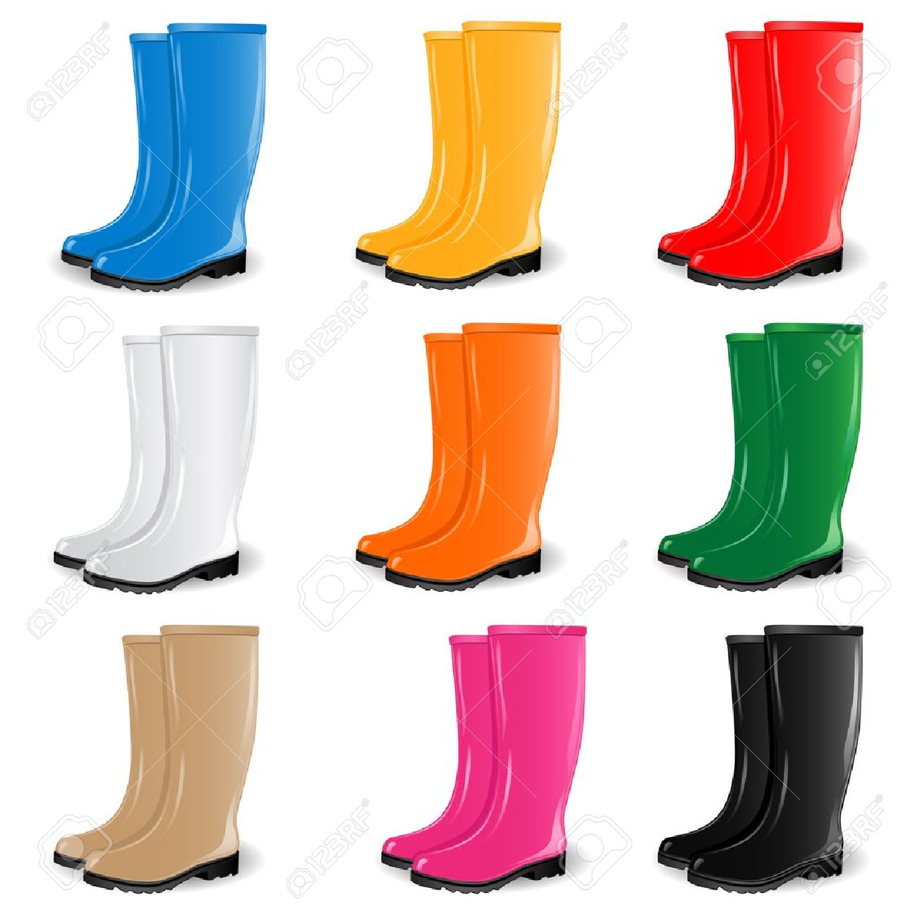 Colored Rubber Boots Royalty Free Cliparts, Vectors, And Stock ...