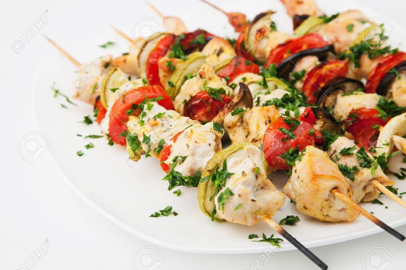 Grilled chicken skewers Stock Photo - 10609111