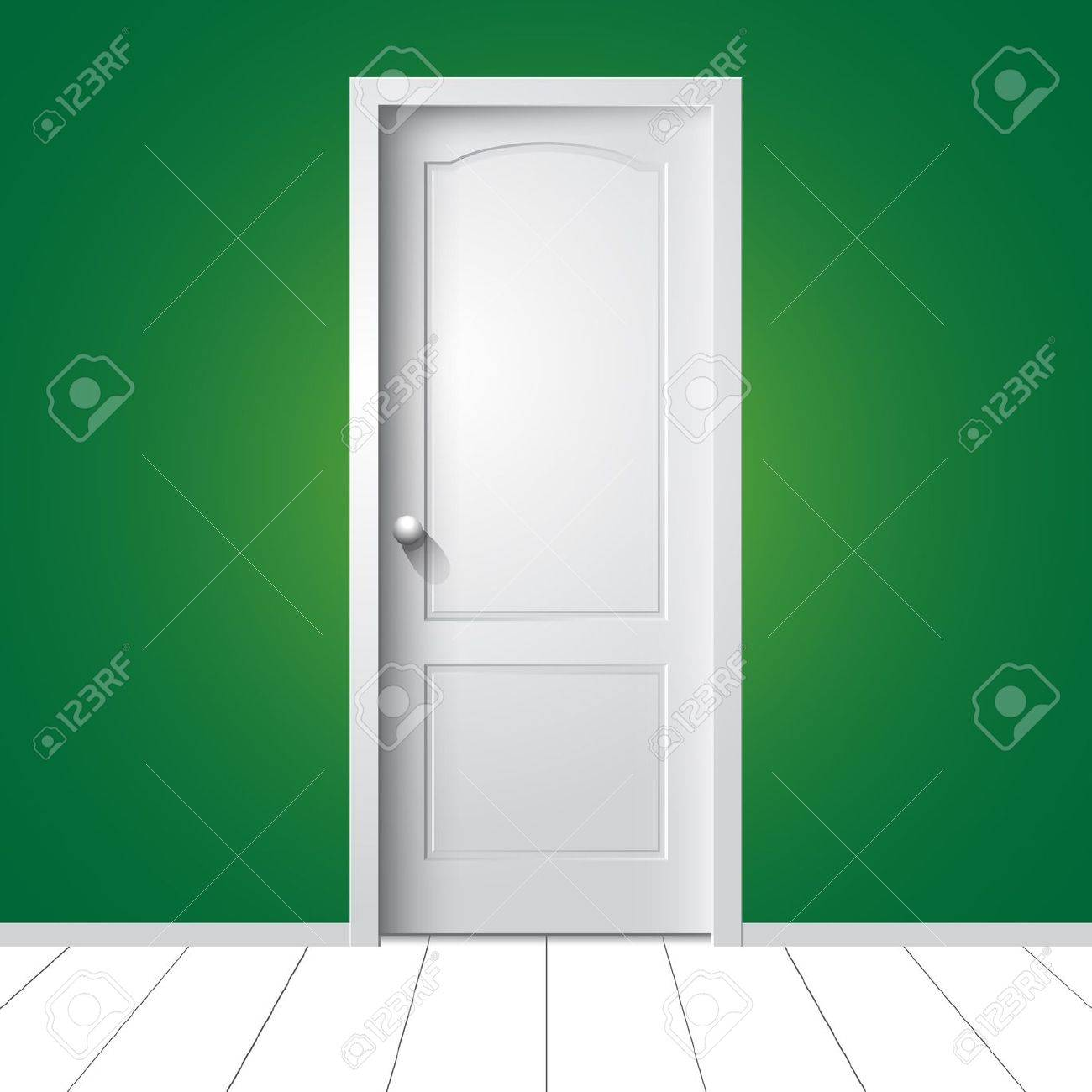 illustration of a white door on green wall Stock Vector - 17718058