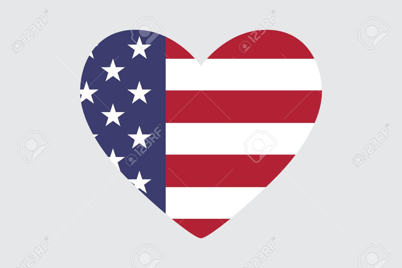 Heart Of The Usa Flag Colors And Symbols Royalty Free Cliparts
