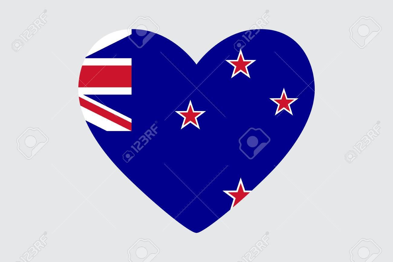 Drapeau De Coloriage De Coeur Nouvelle Zélande Clip Art Libres De