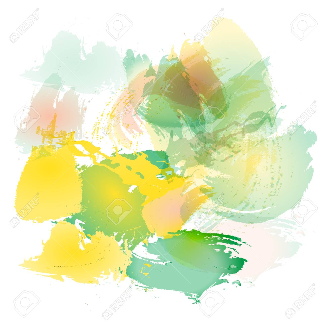 Imitation Of Strokes With A Watercolor Brush Of Red, Yellow And ...