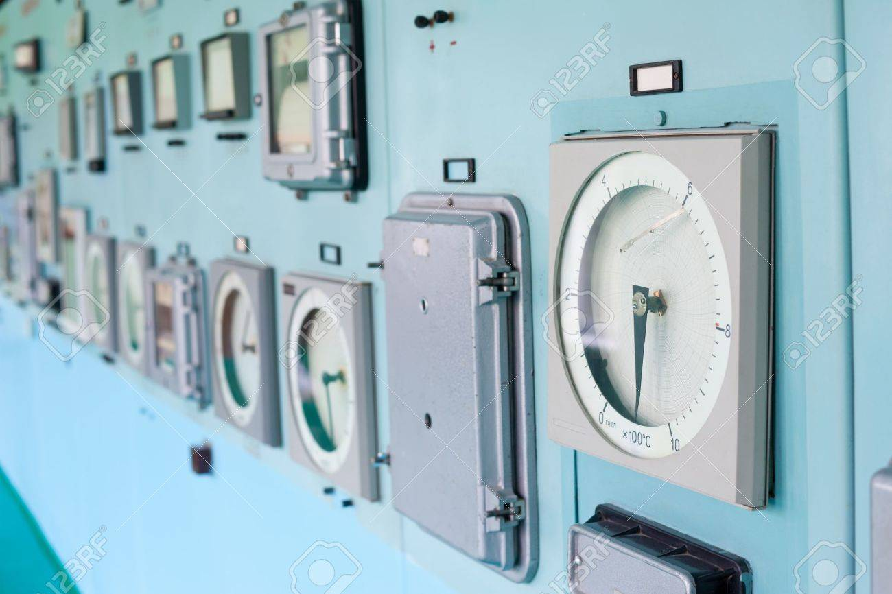 Control panel with instrumentation. Control room. Stock Photo - 10332046