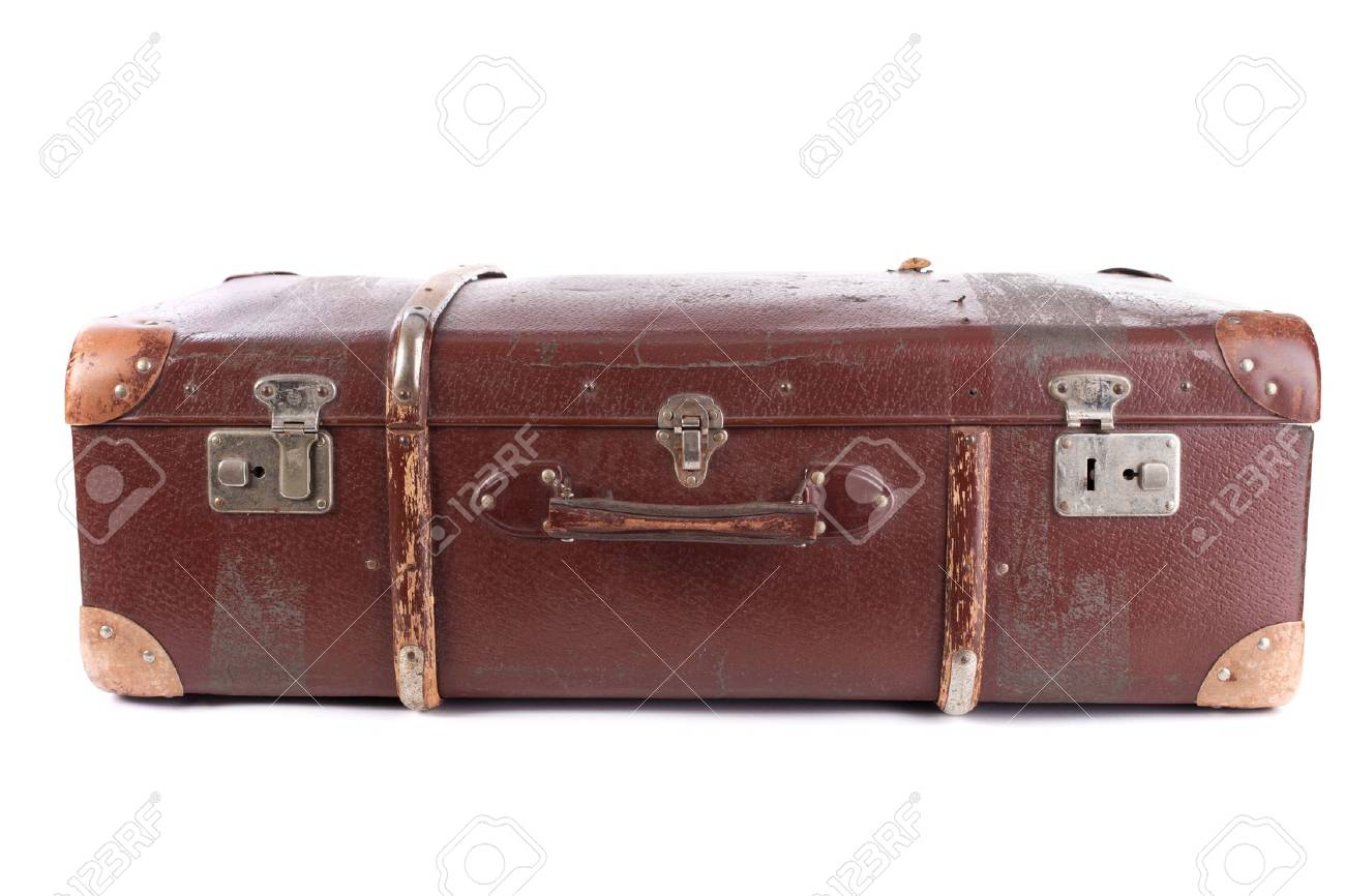 Brown suitcase isolated on white background Stock Photo - 12817232