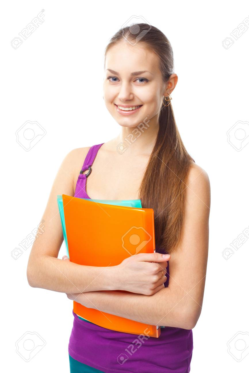 Portrait of a pretty young happy smiling student girl with folders isolated on white background Stock Photo - 22003460